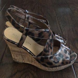 Madden Girl leopard wedge heels size 6